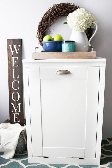 This little cabinet will hide the garbage while adding a small piece of furniture to your kitchen.
