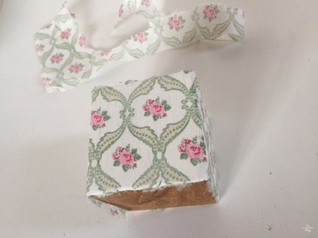 How to to a votive candle holder using paint and napkins - Glueing the napkin