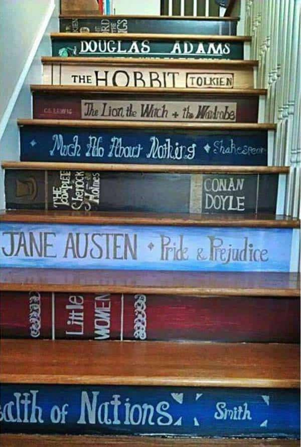 Caution all book lovers - you may or may not transform your staircase into a bookshelf of your favorite titles!
