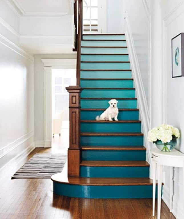 Take your color pallet and stretch it wide across your stair risers!