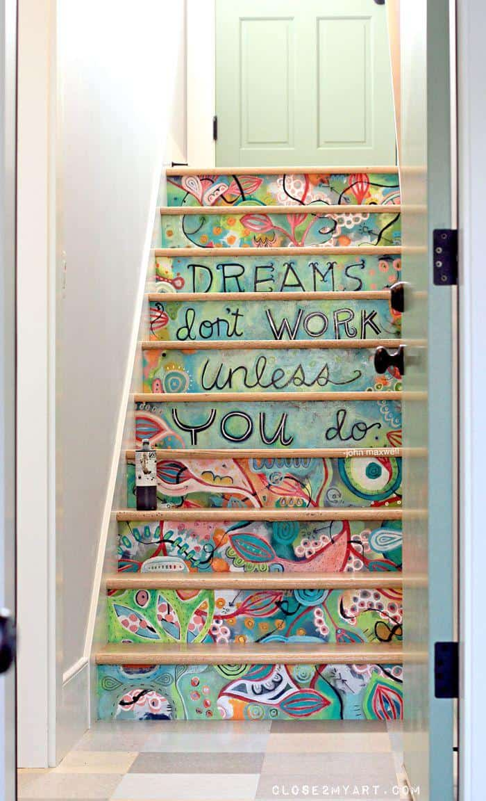 Add color and inspiration to your home with fun, painted stair treads.