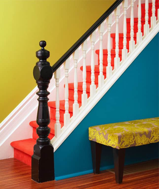 Even a solid paint color can add extra appeal to plain stairs.