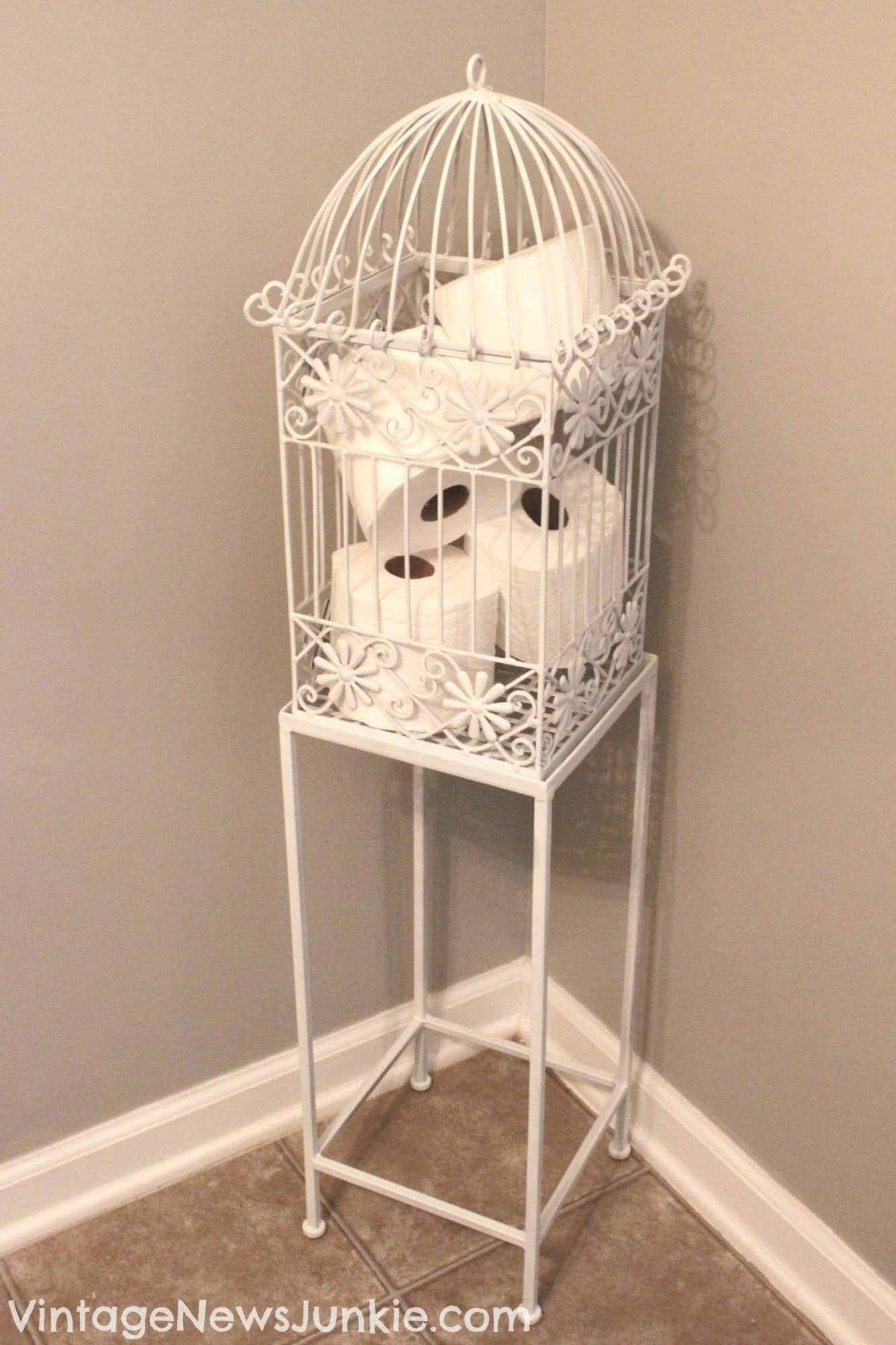 Whimsical bathrooms will need this birdcage!