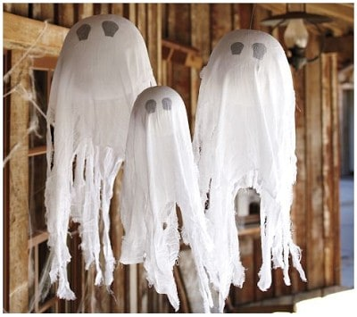 Find Out How To Make These Pottery Barn Style Halloween Hanging Ghosts