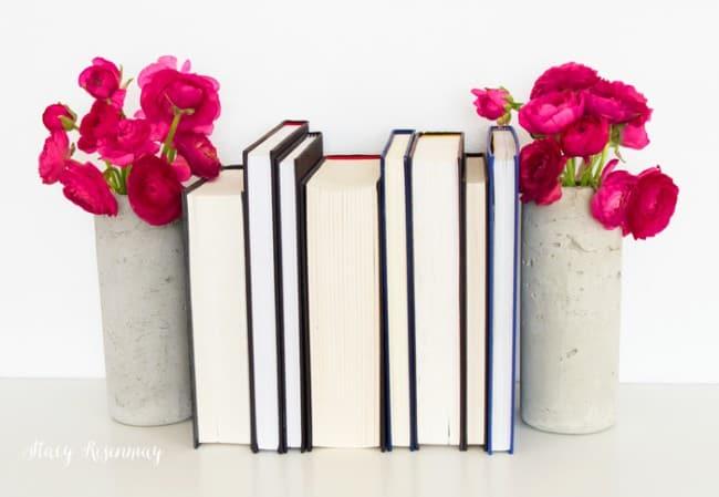 rununculas-in-concrete-vases