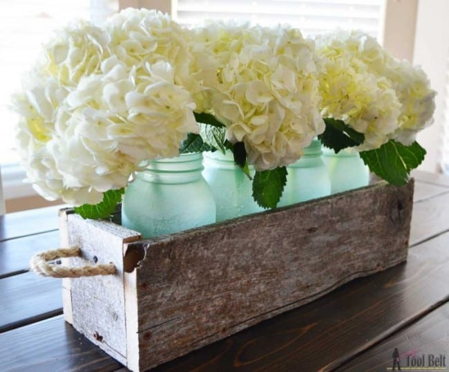 Reclaimed wood barnwood mason jar box centerpieces horiz 900x745