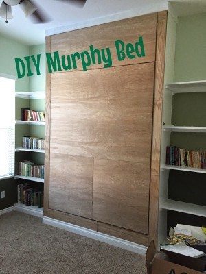 Cute Some extra hinges and a strap to hold the bed linens make the murphy bed plete
