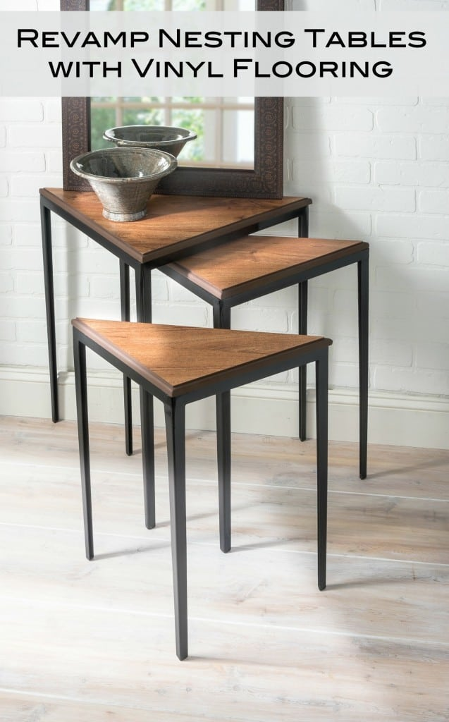 Makeover Nesting Tables With Good Old Vinyl Flooring