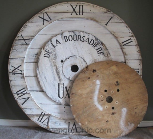 head over to scavenger chic to see exactly how she created this huge clock face