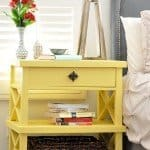 DIY version of Pottery Barn Clara lattice bedside table with free plans