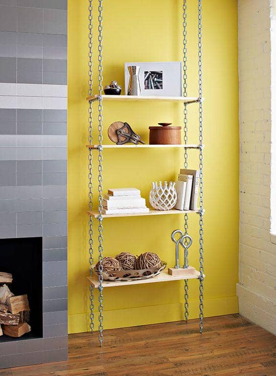 Hanging chain shelf