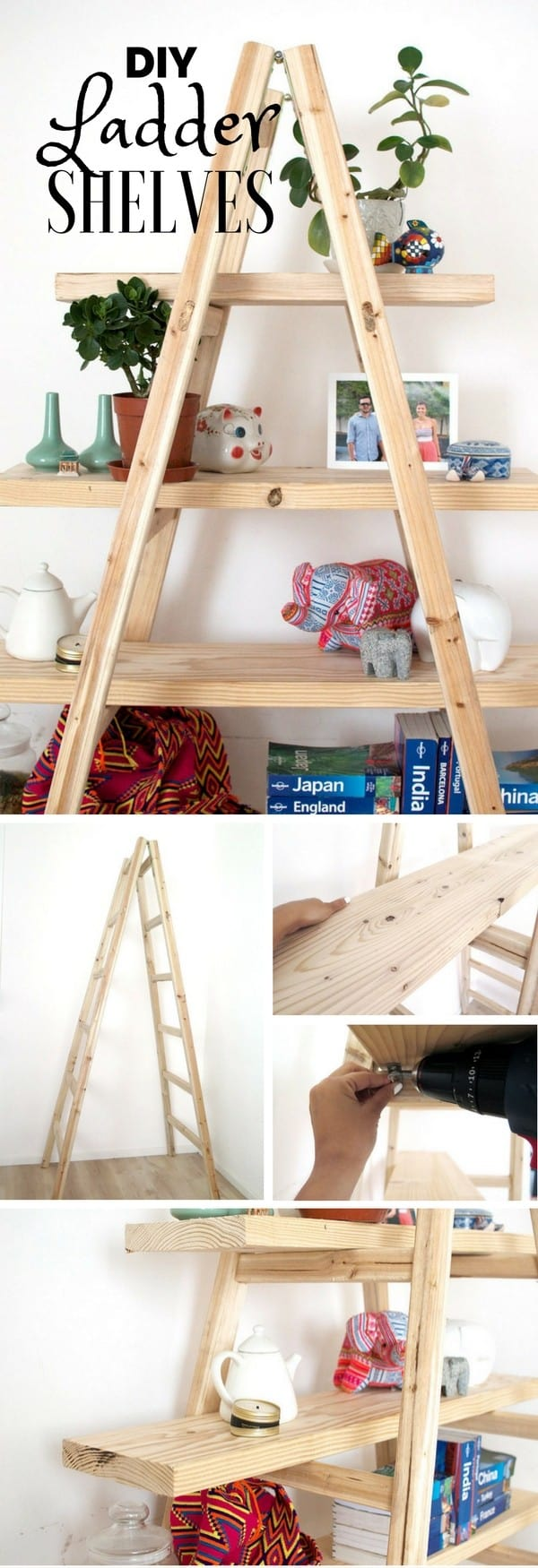 11 simple diy shelves for Old wooden ladder projects
