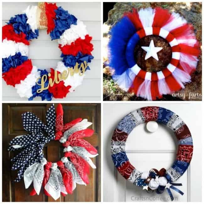 Four wreath ideas for the 4th of July.
