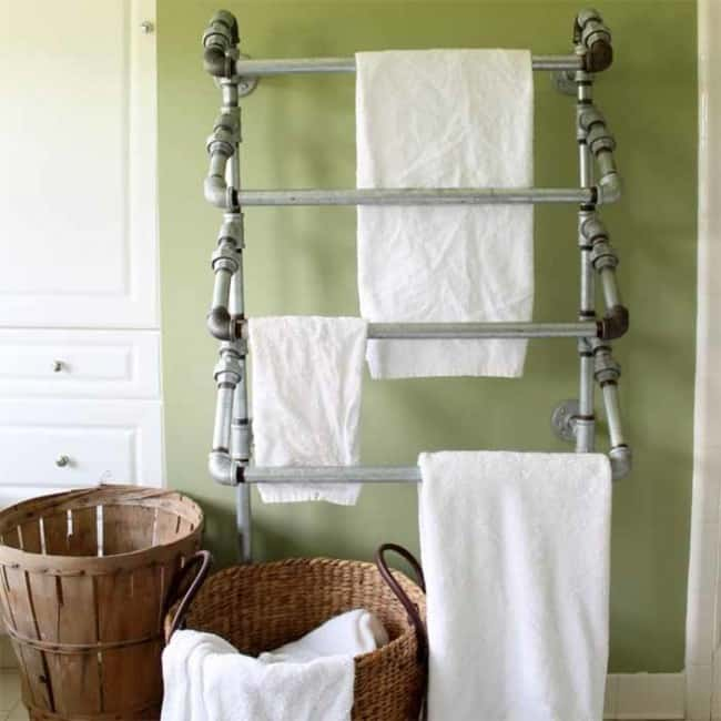 Standard Tub Size And Other Important Aspects Of The Bathroom: Well Constructed Rustic Towel Rack