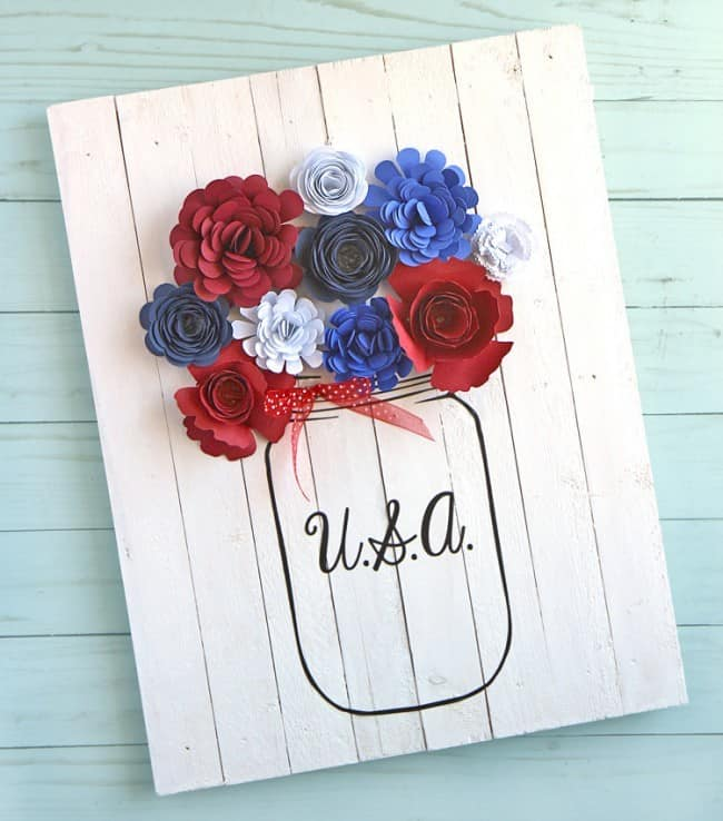 Patriotic Wooden Sign With Paper Flowers