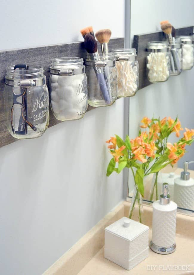 Mason Jar Organizers In A Bathroom
