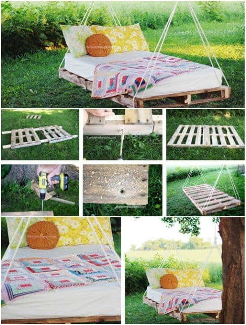 10 simple diy projects to make out of those extra pallets you have laying around. Black Bedroom Furniture Sets. Home Design Ideas