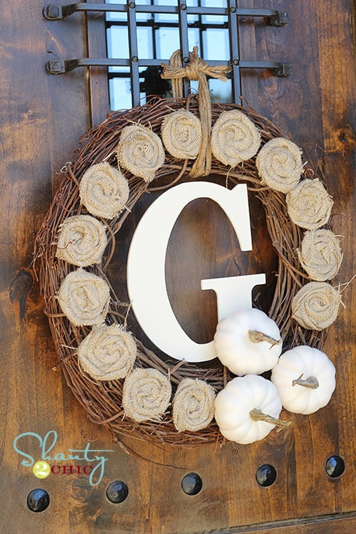 Fall wreath with burlap rosettes