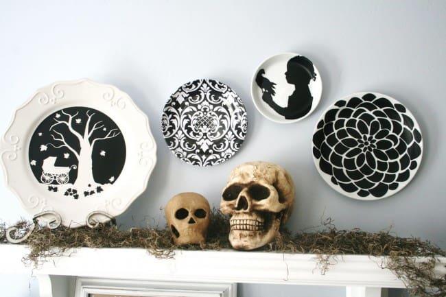 Ceramic skulls and Halloween plates.