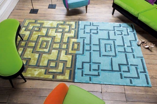 Blue and green bold rug