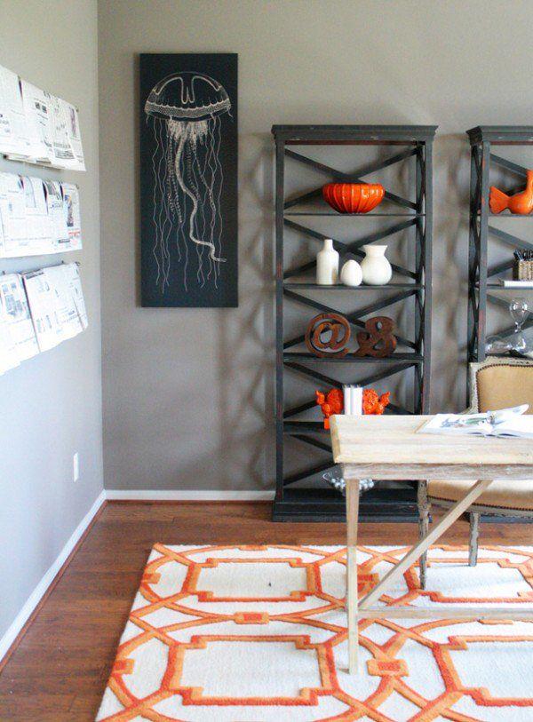 Orange and white bold rug