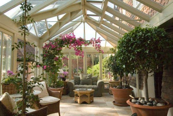 Flower filled sunroom