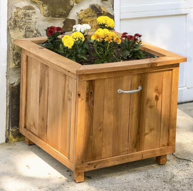 Wood-hose-caddy-with-planter