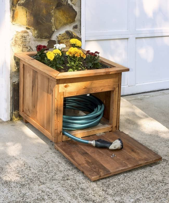 Wood-hose-caddy-with-planter-open