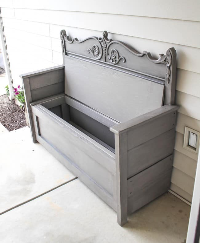 Antique Headboard Bench: Repurpose An Old Headboard Into An Outdoor Storage Bench
