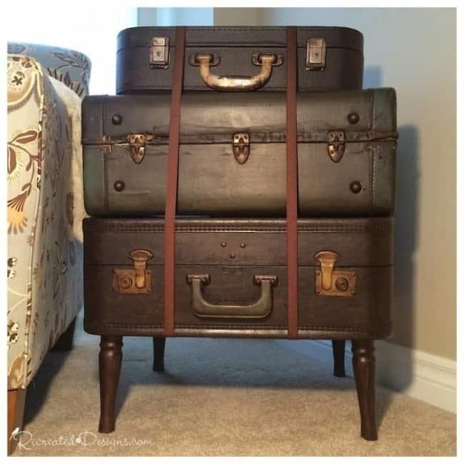 three vintage suitcases turned into table