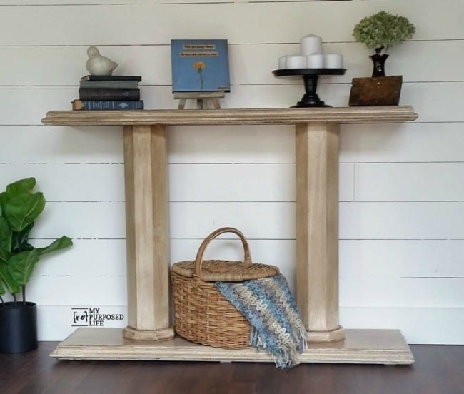 DIY Pillar Console Table
