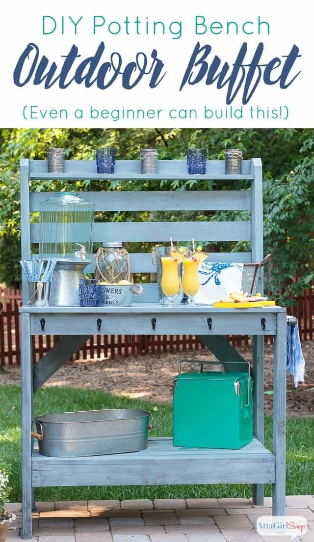 Diy Outdoor Potting Bench Buffet Table Knockoffdecor Com