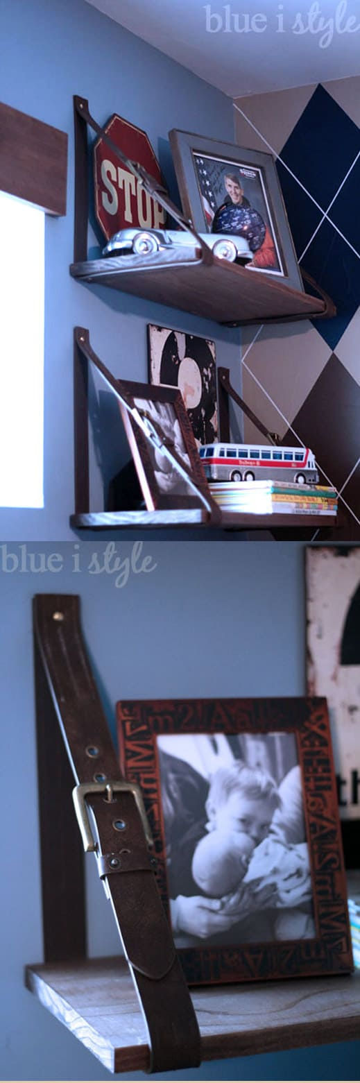 Shelf made from belts
