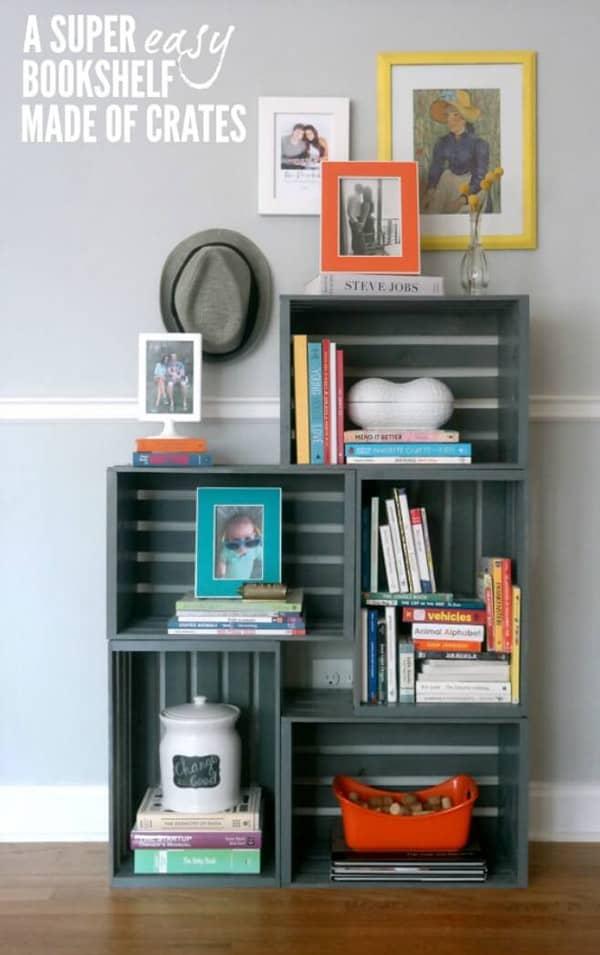 DIY Crates Bookshelf