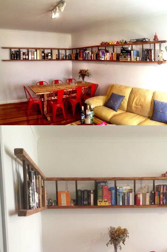 Bookshelf from old ladder