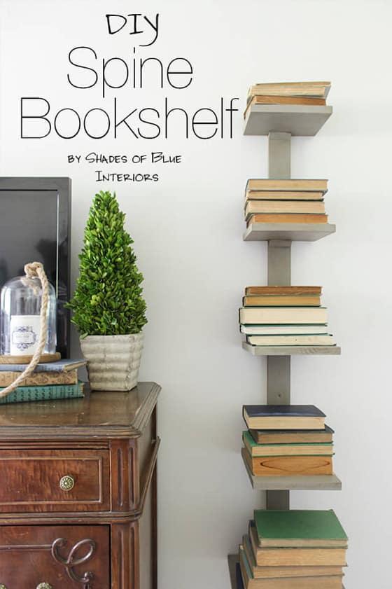Spine stacked bookshelf