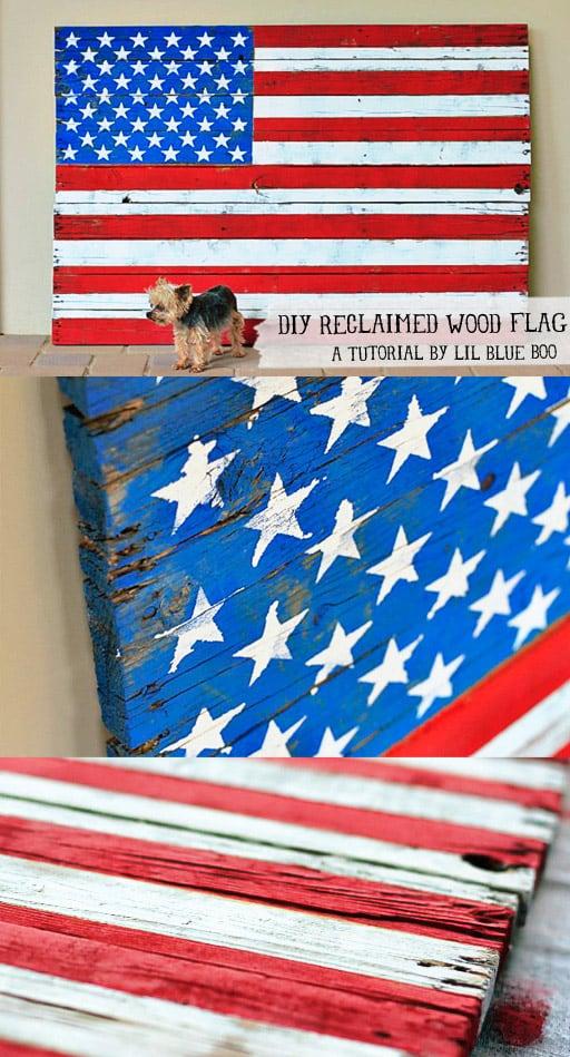 Painted Wood Distressed American Flag