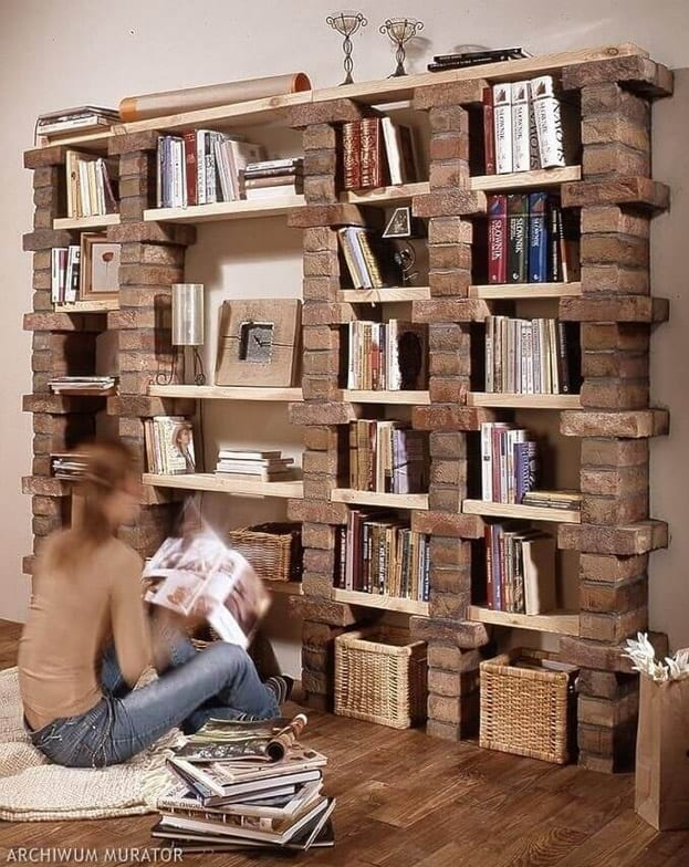 Build a shelf from bricks and wood