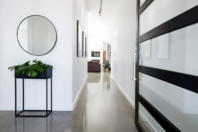 polished concrete floor in entryway