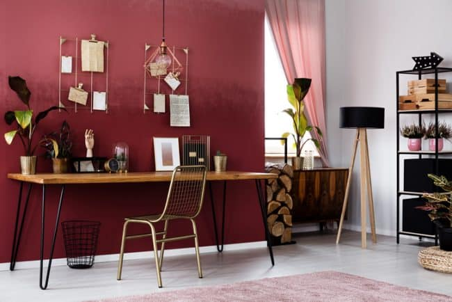 red color home office