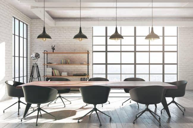 White brick meeting room