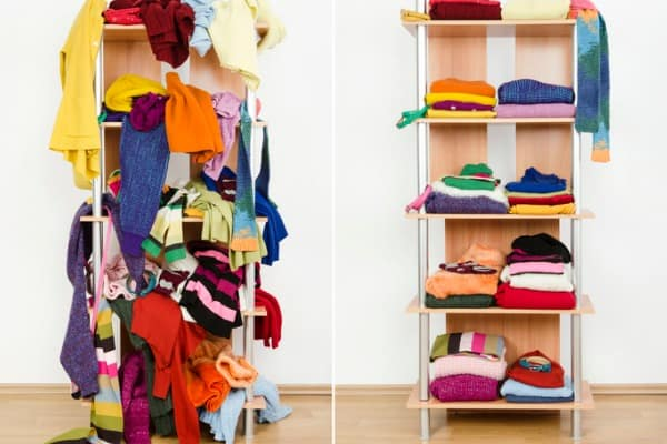 before and after tidy wardrobe