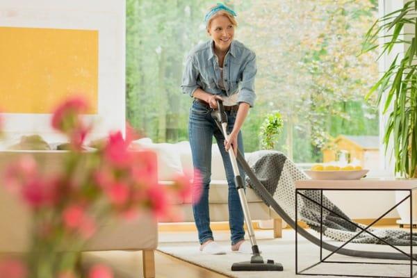 vacuuming before work