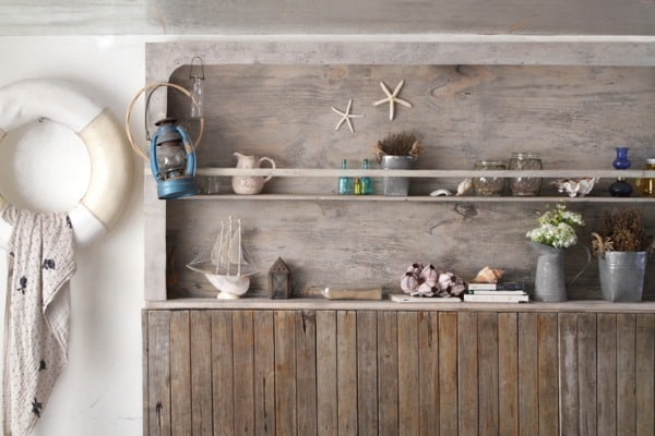 vintage wooden-shelf wall