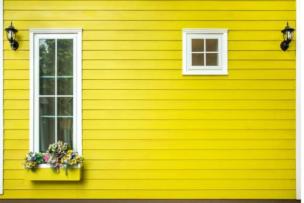 yellow painted outdoor wall