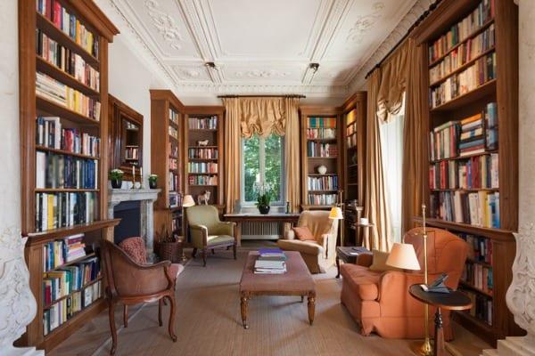 antique bookshelf in living room