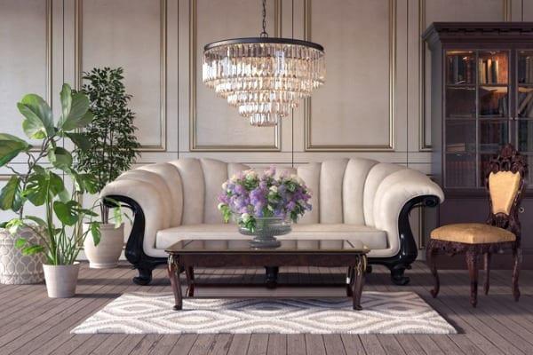 classic retro interior with chandelier
