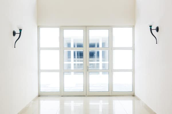 closed door white glass door