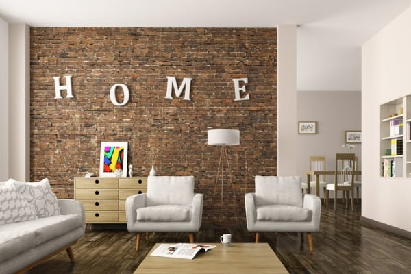 home letters in living room