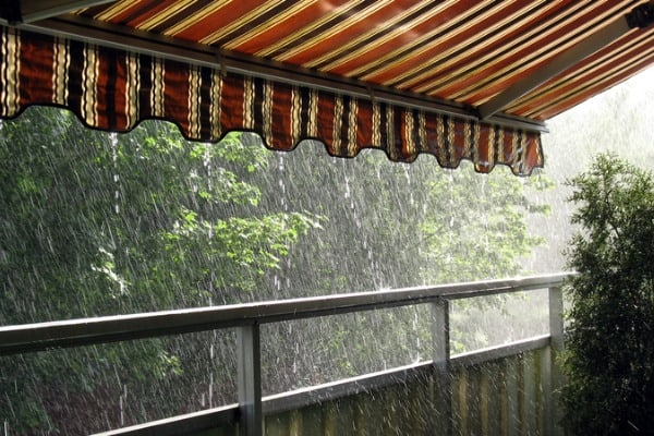 retractable awning on rainy day
